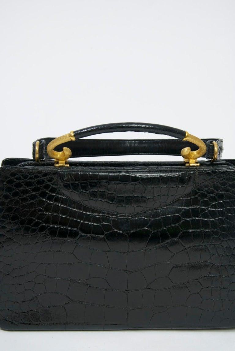 Rosenfeld 1960s Black Faux Alligator Handbag For Sale 2