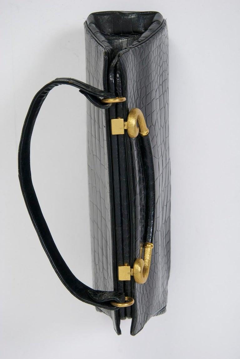 Rosenfeld 1960s Black Faux Alligator Handbag For Sale 3