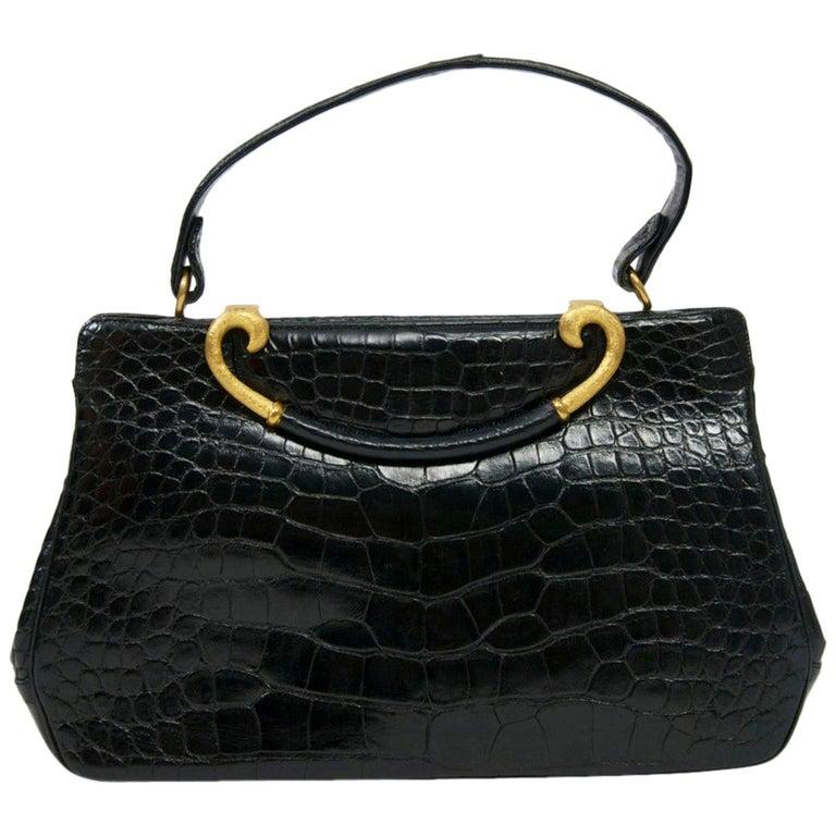 Rosenfeld 1960s Black Faux Alligator Handbag For Sale