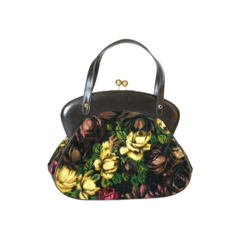 Rosenfeld Brown Leather and Floral Velvet Handbag