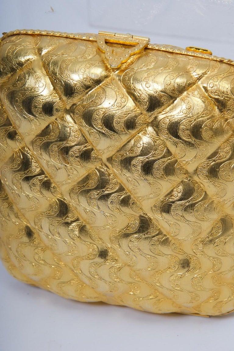 Rosenfeld Embossed Gold Metal Evening Bag For Sale 5