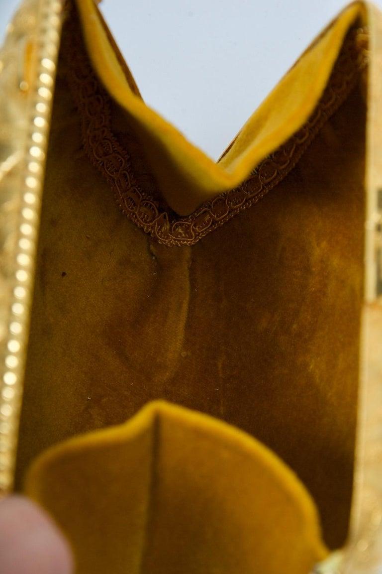 Rosenfeld Embossed Gold Metal Evening Bag For Sale 6