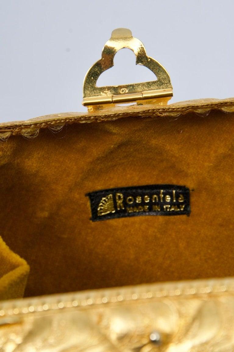 Rosenfeld Embossed Gold Metal Evening Bag For Sale 7