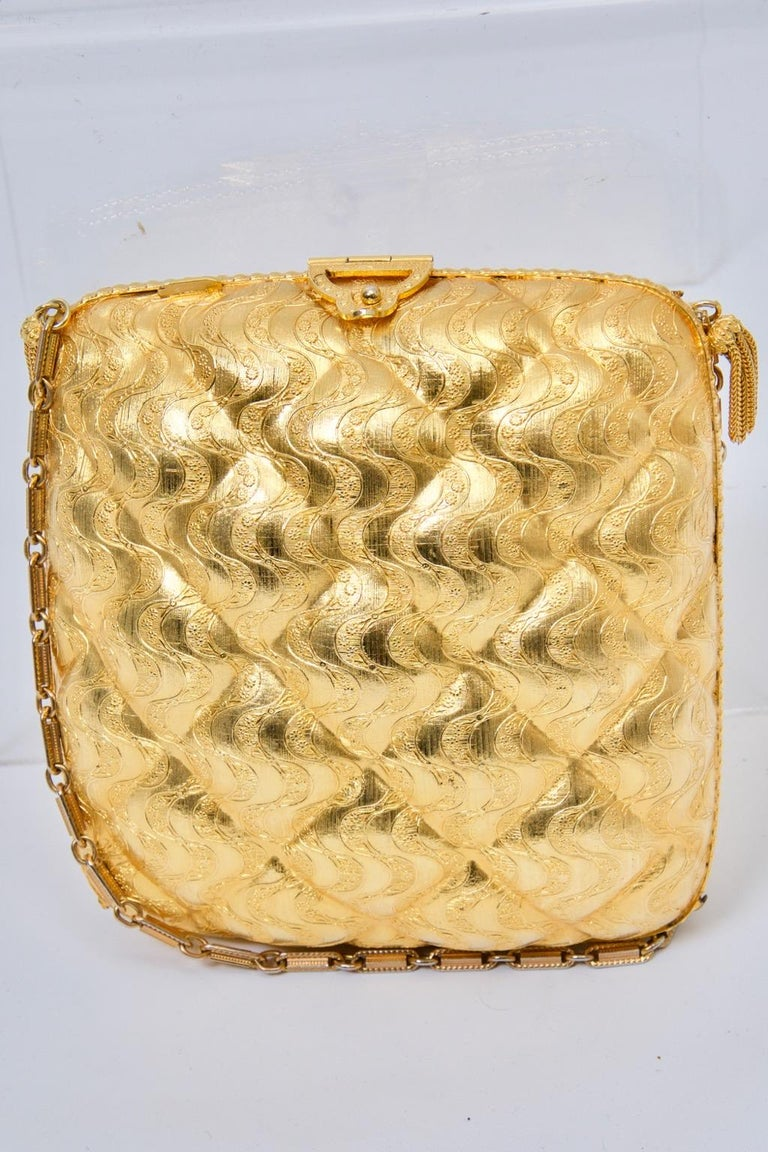 Rosenfeld Embossed Gold Metal Evening Bag In Good Condition For Sale In Alford, MA