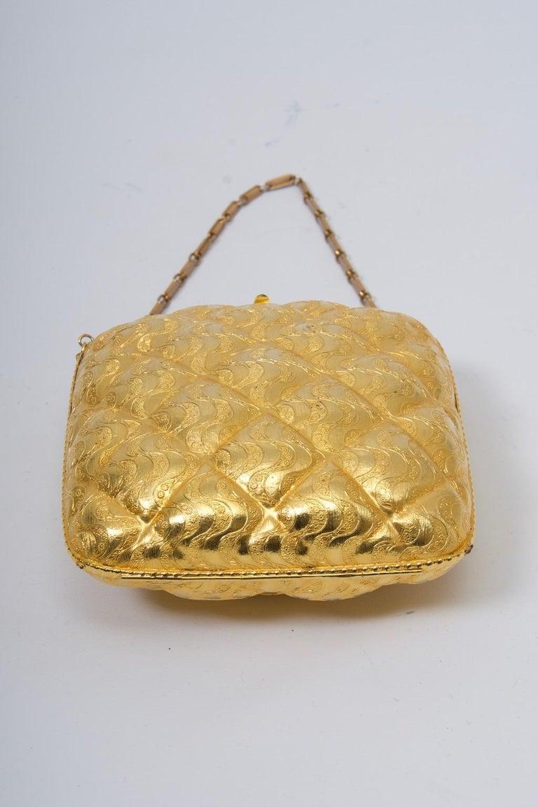 Women's Rosenfeld Embossed Gold Metal Evening Bag For Sale