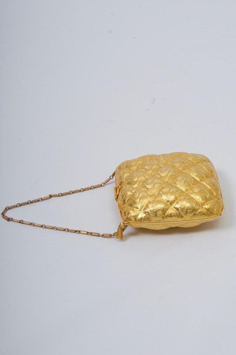 Rosenfeld Embossed Gold Metal Evening Bag For Sale 1