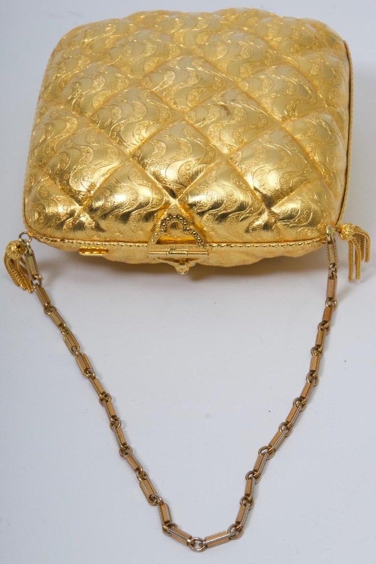 Rosenfeld Embossed Gold Metal Evening Bag For Sale 2