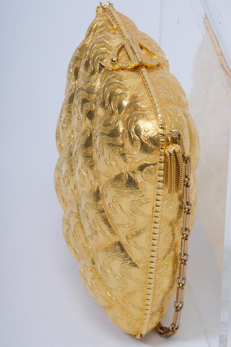 Rosenfeld Embossed Gold Metal Evening Bag For Sale 3
