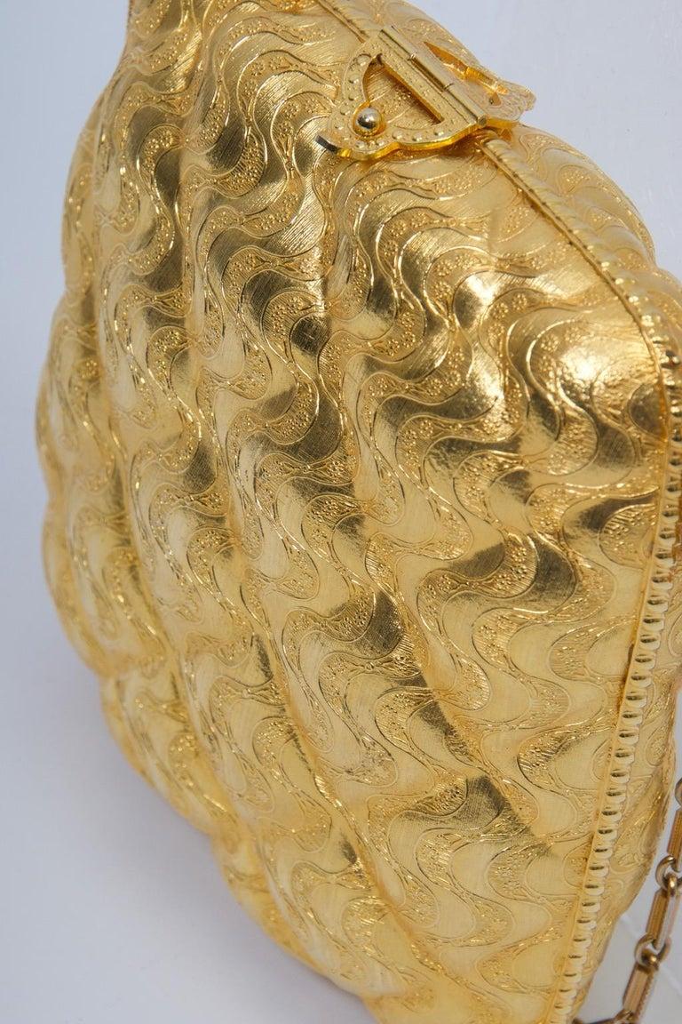 Rosenfeld Embossed Gold Metal Evening Bag For Sale 4
