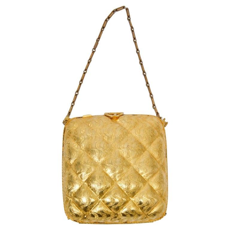 Rosenfeld Embossed Gold Metal Evening Bag For Sale