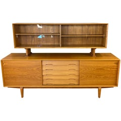 Rosengren Hansen for Dyrlund Danish Modern Teak Sideboard and Hutch, 1960s