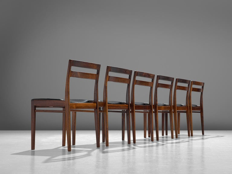 Danish Rosengren Hansen Set of Six Rosewood Dining Chairs For Sale