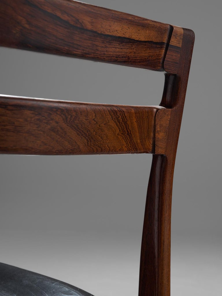 Rosengren Hansen Set of Six Rosewood Dining Chairs In Good Condition For Sale In Waalwijk, NL