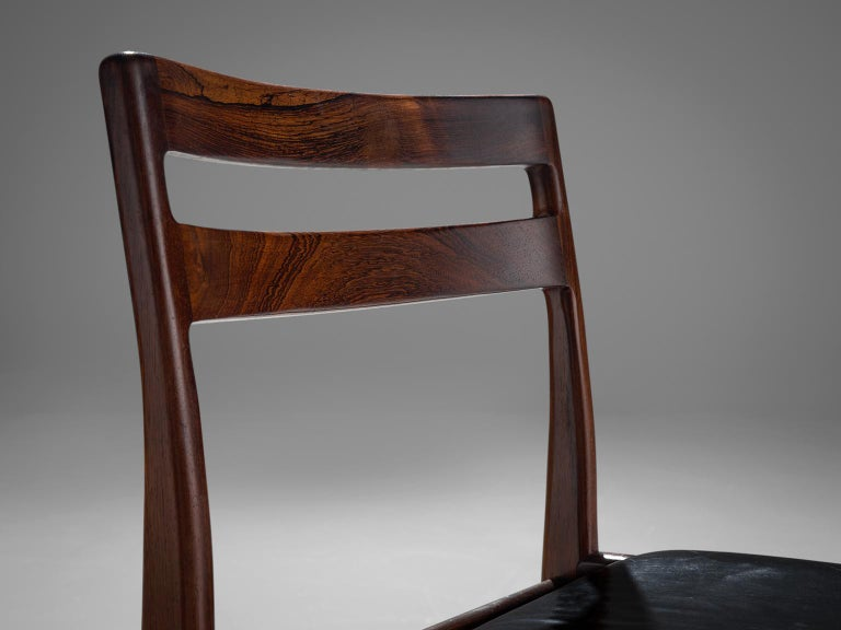 Mid-20th Century Rosengren Hansen Set of Six Rosewood Dining Chairs For Sale
