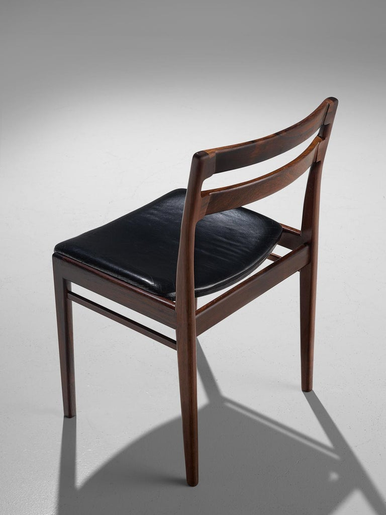 Leather Rosengren Hansen Set of Six Rosewood Dining Chairs For Sale