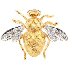 Rosenthal 1970s Honey Bee Diamond Ruby Gold Brooch