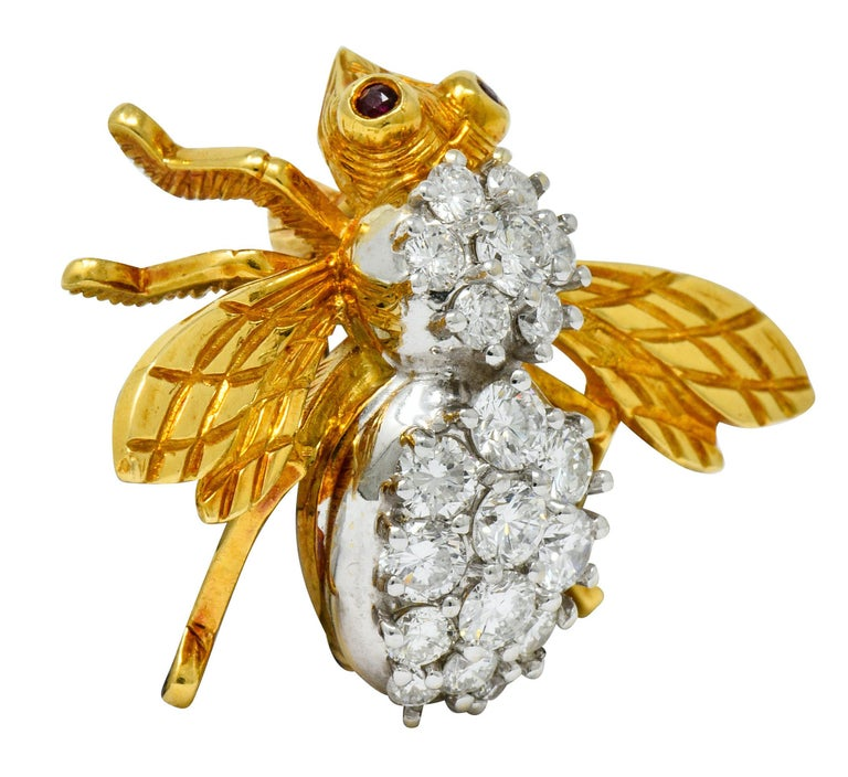Contemporary Rosenthal 2.75 Carat Diamond Ruby Platinum 18 Karat Gold Insect Bee Brooch For Sale