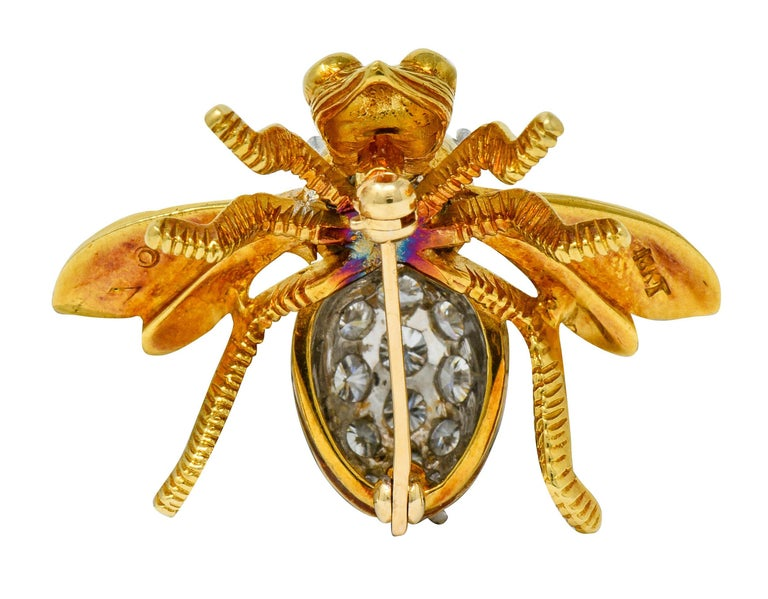 Brilliant Cut Rosenthal 2.75 Carat Diamond Ruby Platinum 18 Karat Gold Insect Bee Brooch For Sale