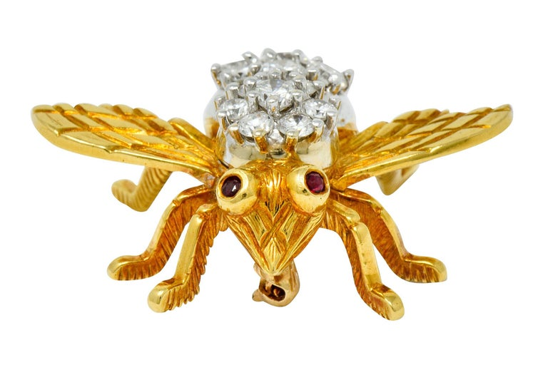 Women's or Men's Rosenthal 2.75 Carat Diamond Ruby Platinum 18 Karat Gold Insect Bee Brooch For Sale