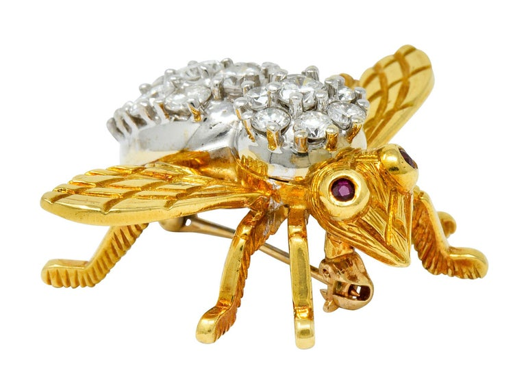 Rosenthal 2.75 Carat Diamond Ruby Platinum 18 Karat Gold Insect Bee Brooch For Sale 1
