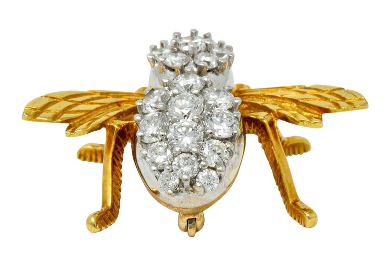 Rosenthal 2.75 Carat Diamond Ruby Platinum 18 Karat Gold Insect Bee Brooch For Sale 2