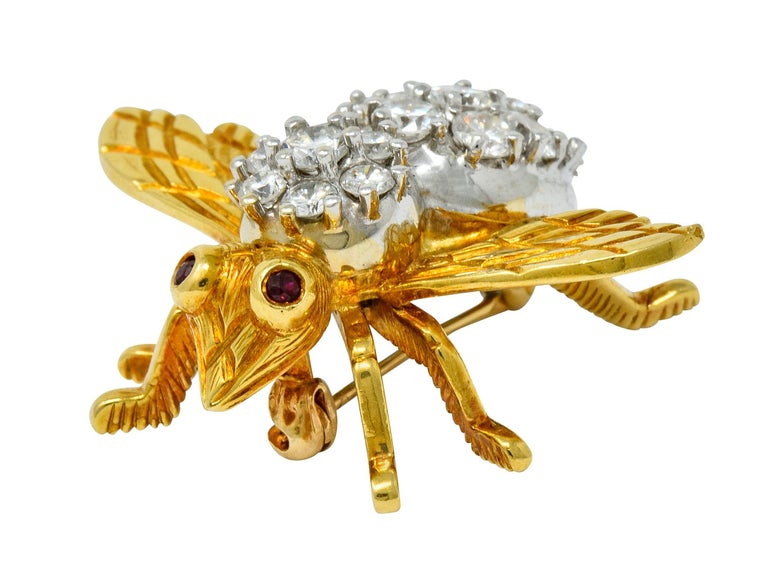 Rosenthal 2.75 Carat Diamond Ruby Platinum 18 Karat Gold Insect Bee Brooch For Sale 3