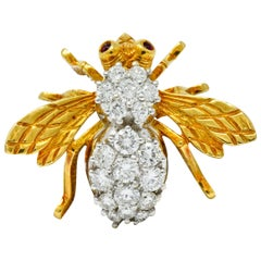 Rosenthal 2.75 Carat Diamond Ruby Platinum 18 Karat Gold Insect Bee Brooch