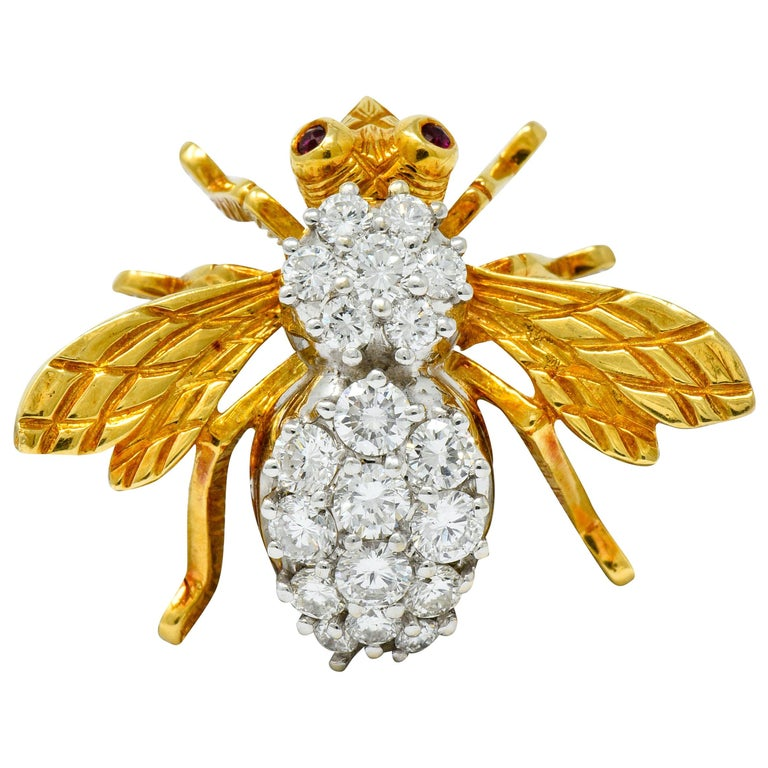 Rosenthal 2.75 Carat Diamond Ruby Platinum 18 Karat Gold Insect Bee Brooch For Sale