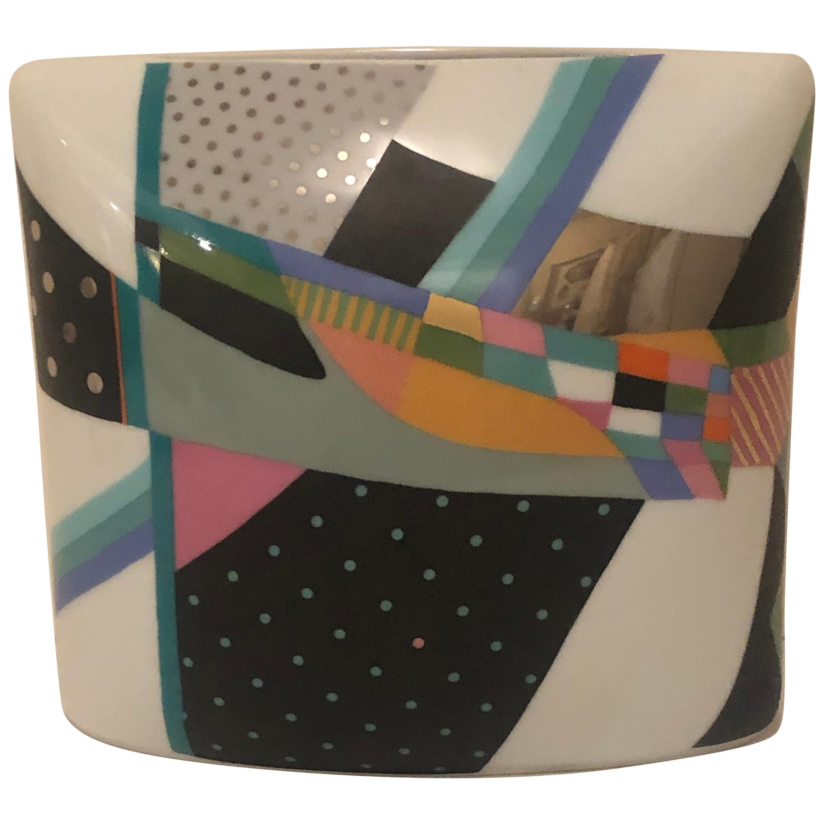 Rosenthal Art Deco Artist Signed Vase with Fabulous Abstract Colorful Painting