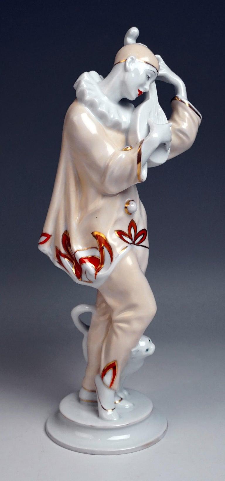 Glazed Rosenthal Art Déco Figurine Pierrot 'Ash Wednesday' Max Valentin Germany, 1922 For Sale