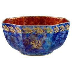 Rosenthal Bowl in Orange and Blue Glazed Porcelain with Hand-Painted Butterflies