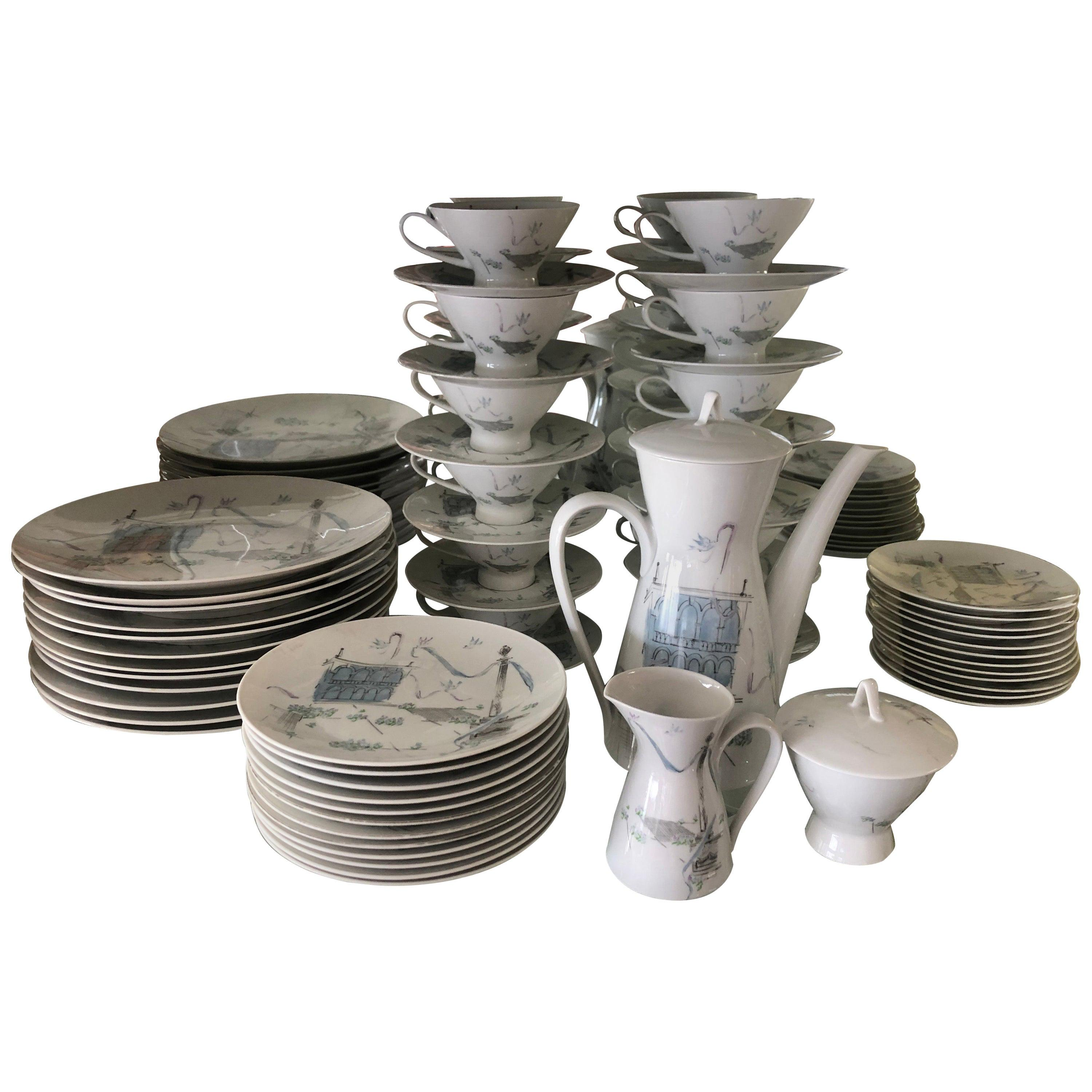 """Rosenthal by Artist Raymond Loewy """"Plaza"""" Service for 12 China Dinner Set"""