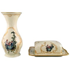 Rosenthal Classic Rose, Vase and Butter Tray in Hand Painted Porcelain
