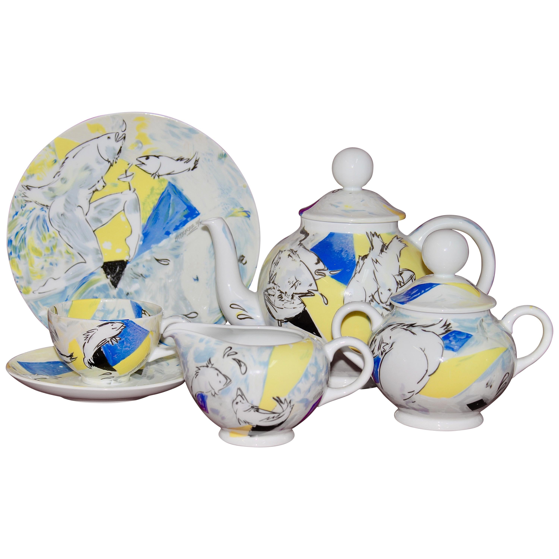 "Rosenthal Designer Pop Art Porcelain Tea Set for Six, ""Teeforelle"" 'Tea Trout'"