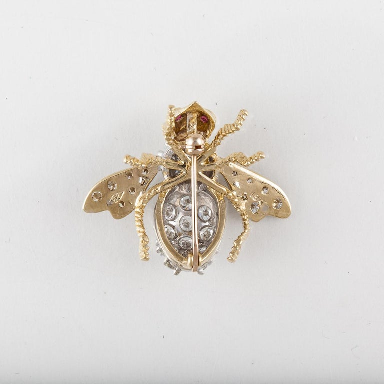Rosenthal Diamond Bee Pin In Good Condition For Sale In Houston, TX
