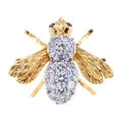 Rosenthal Diamond Ruby Gold Bee Brooch