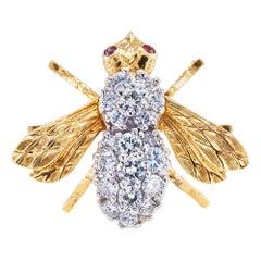 Rosenthal Diamond Ruby Gold Bee Brooch