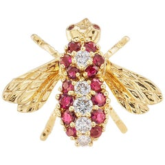 Rosenthal Diamond Ruby Yellow Gold Bee Brooch