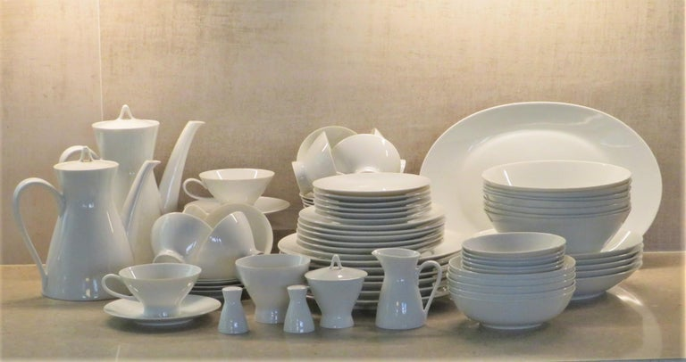 Here we have a 70 piece dinnerware set of the popular Form 2000 in minimalist white from Rosenthal Porcelain that was designed in 1954 by Raymond Loewy for the newly created Studio-Line division. All 70 pcs. are in very good condition just with