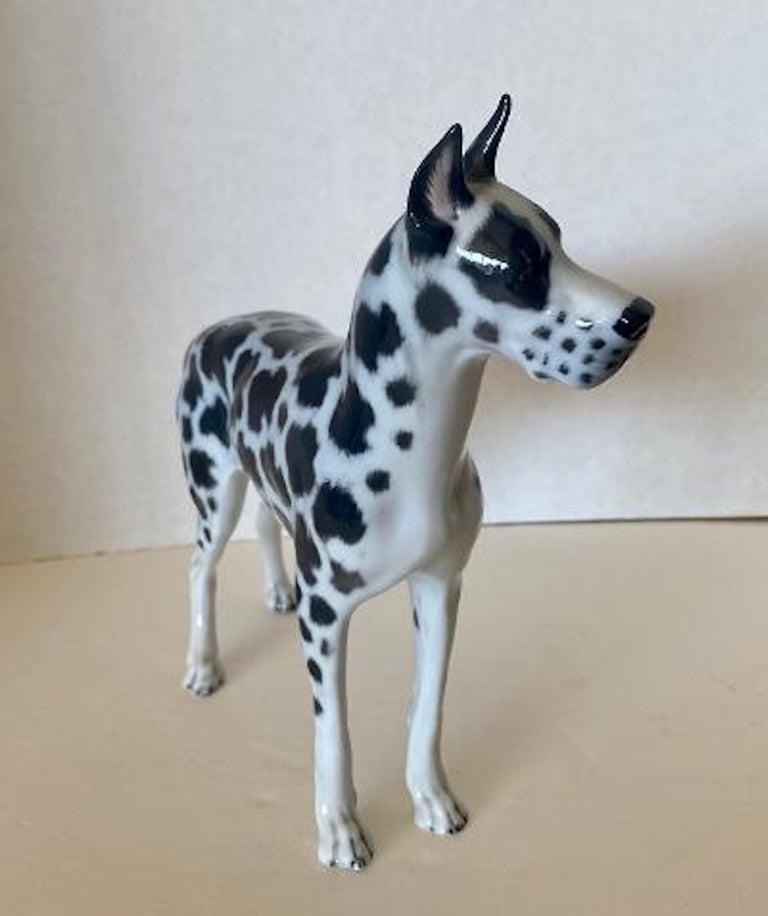 Mid-Century Modern Rosenthal Germany Porcelain Harlequin Spotted Great Dane Dog Figurine For Sale