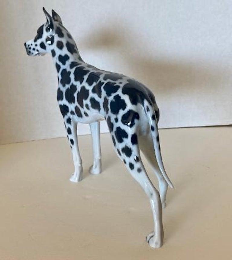 Hand-Painted Rosenthal Germany Porcelain Harlequin Spotted Great Dane Dog Figurine For Sale