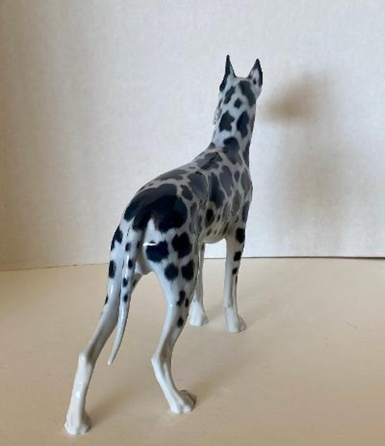 Rosenthal Germany Porcelain Harlequin Spotted Great Dane Dog Figurine In Excellent Condition For Sale In Tustin, CA