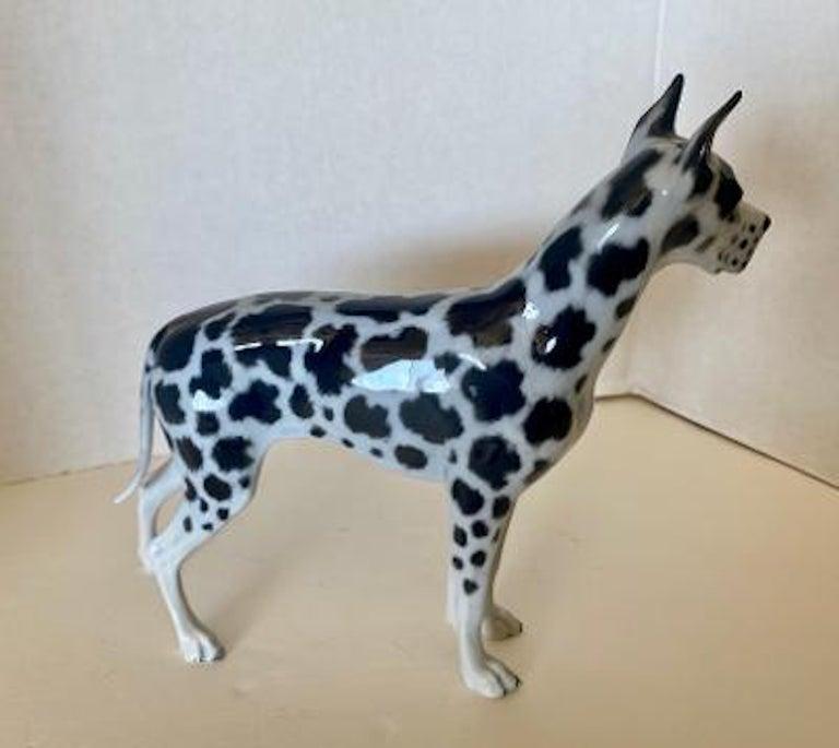 20th Century Rosenthal Germany Porcelain Harlequin Spotted Great Dane Dog Figurine For Sale