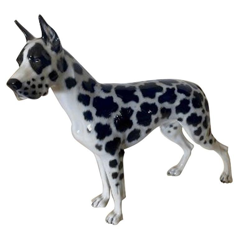 Rosenthal Germany Porcelain Harlequin Spotted Great Dane Dog Figurine For Sale