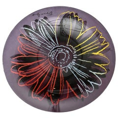 Rosenthal Glass Flower Plate or Charger Designed after Andy Warhol Barware
