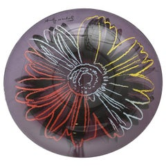 Rosenthal Glass Flower Plate or Charger Designed After Andy Warhol