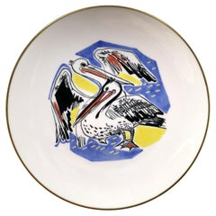 Rosenthal Hand Painted Plate with Two Cranes, 1960s