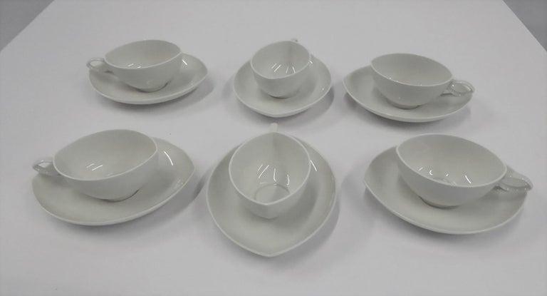 Mid-Century Modern Rosenthal Mid Century OVAL pattern Demi Tasse Coffee Set Rudolf Lundhard 1951 For Sale
