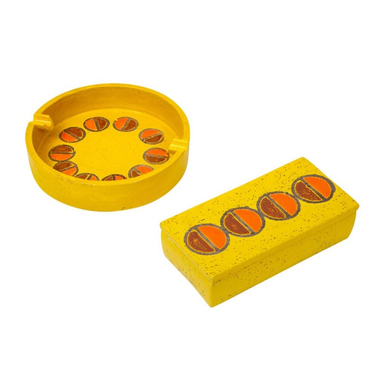 Rosenthal Netter Ashtray, Ceramic, Yellow and Orange, Discs, Signed For Sale 6