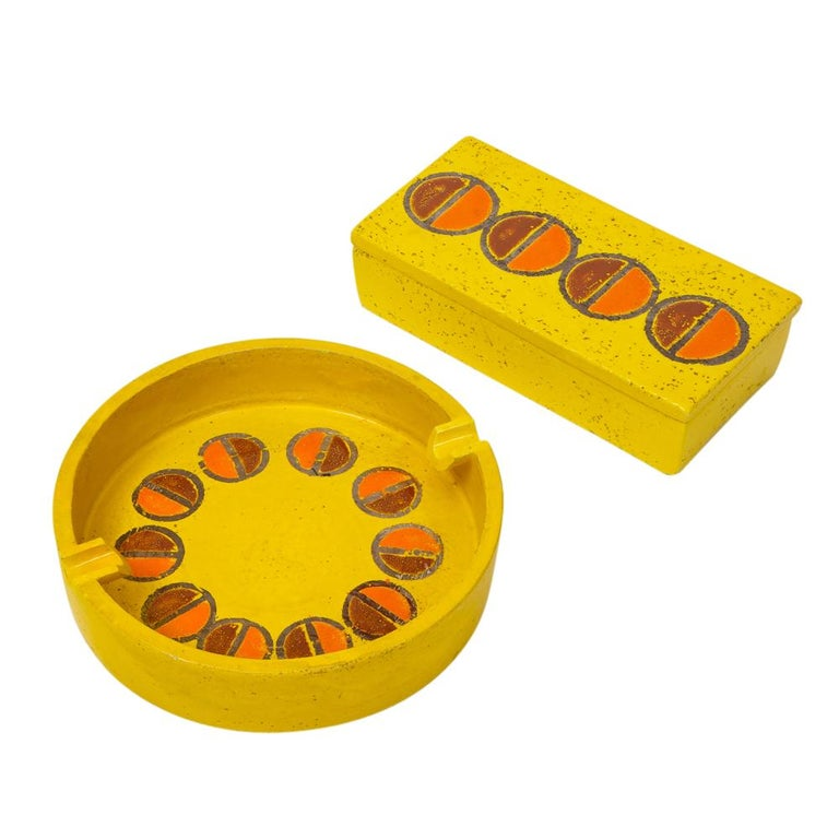 Rosenthal Netter Ashtray, Ceramic, Yellow and Orange, Discs, Signed For Sale 7